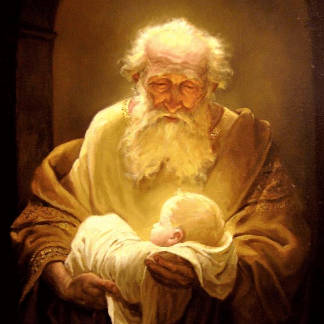 Старец Симеон держит младенца Христа